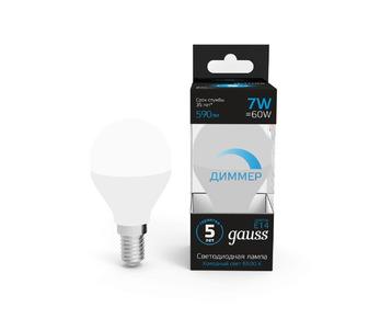 Лампа светодиодная диммируемая Gauss E14 7W 6500K матовая 105101307-D