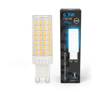 Лампа светодиодная Gauss G9 6,5W 6500K прозрачная 107309306