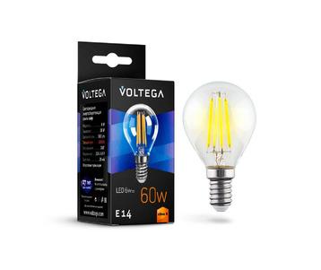 Лампа светодиодная филаментная Voltega E14 6W 2800К прозрачная VG10-G1E14warm6W-F 7021