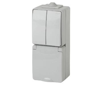Блок розетка-выключатель двухклавишный ЭРА Эксперт IP65 16A 250V 11-7608-03
