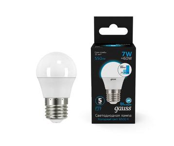 Лампа светодиодная диммируемая Gauss E27 7W 6500K матовая 105102307-S