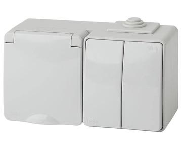 Блок розетка-выключатель двухклавишный ЭРА Эксперт IP65 16A 250V 11-7602-03