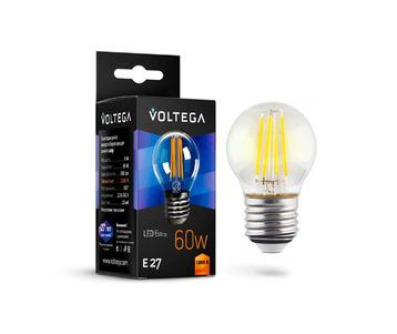 Лампа светодиодная филаментная Voltega E27 6W 2800К прозрачная VG10-G1E27warm6W-F 7023