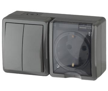 Блок розетка-выключатель двухклавишный ЭРА Эксперт IP54 16A 250V 11-7402-03