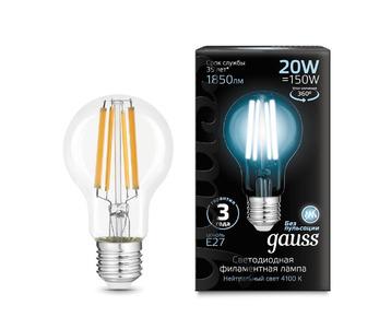 Лампа светодиодная филаментная Gauss E27 20W 4100K прозрачная 102902220