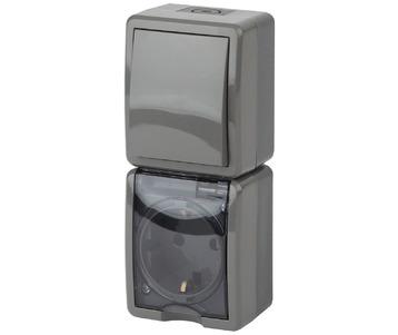 Блок розетка-выключатель ЭРА Эксперт IP54 16A 250V 11-7407-03