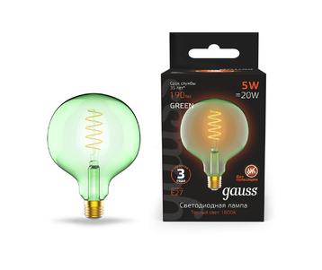 Лампа светодиодная диммируемая филаментная Gauss E27 5W 1800K зеленая 1012802105