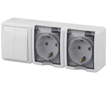 Блок розетки-выключатель двухклавишный ЭРА Эксперт IP54 16A 250V 11-7404-01