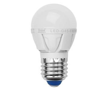 Лампа светодиодная Uniel E27 6W 3000K матовая LED-G45-6W/WW/E27/FR ALP01WH 07906