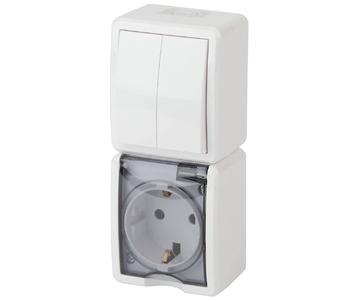 Блок розетка-выключатель двухклавишный ЭРА Эксперт IP54 16A 250V 11-7408-01