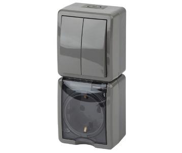 Блок розетка-выключатель двухклавишный ЭРА Эксперт IP54 16A 250V 11-7408-03