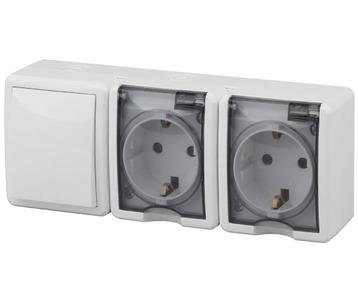 Блок розетки-выключатель ЭРА Эксперт IP54 16A 250V 11-7403-01