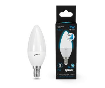 Лампа светодиодная диммируемая Gauss E14 7W 6500K матовая 103101307-S