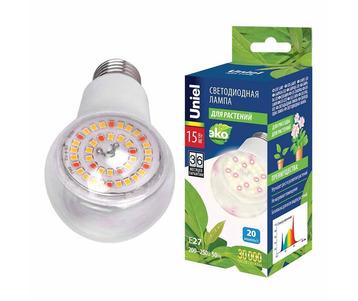 Лампа светодиодная для растений Uniel E27 15W прозрачная LED-A60-15W/SPFB/E27/CL PLP30WH UL-00007405