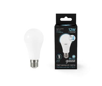 Лампа светодиодная диммируемая Gauss E27 12W 4100K матовая 102502212-S