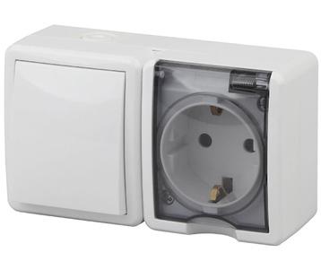 Блок розетка-выключатель ЭРА Эксперт IP54 16A 250V 11-7401-01
