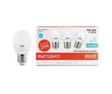 Лампа светодиодная Gauss E27 7W 4100K матовая 53227T